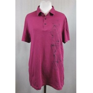 Calvin Klein Body Fit Spell Out Pink Polo Shirt L